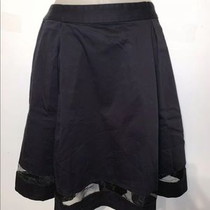 Vince Camuto Black Skater Skirt w/ Mesh Bottom 14